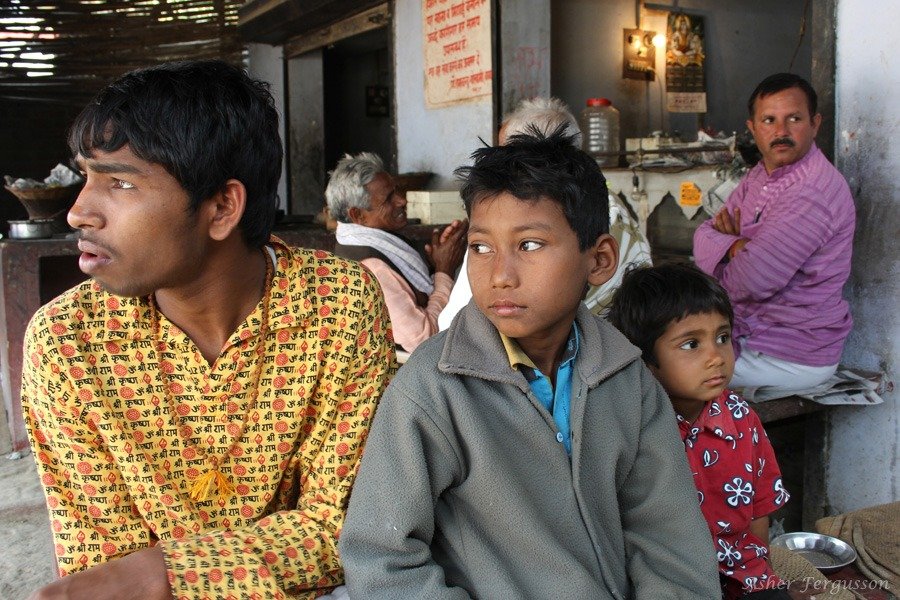 Indian family at chai stand